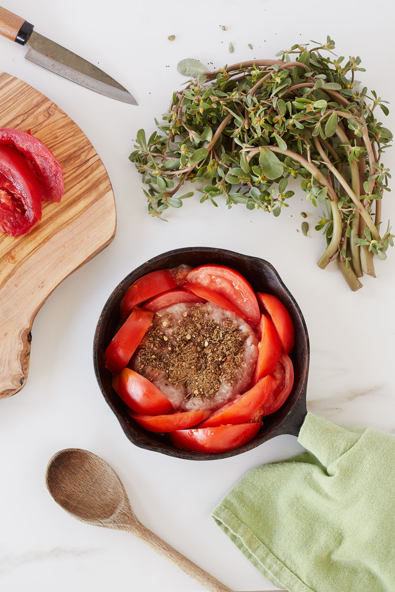 1268-Clean-Living-Guide-purslane-salad-with-tomato-thai-herbed-turkey-patty-glute-free-paleo-1200