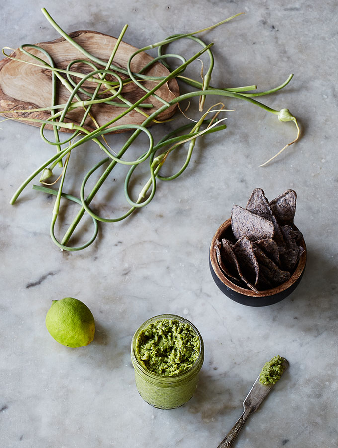 With-or-Without Parmesan Creamy Garlic Scape Pesto